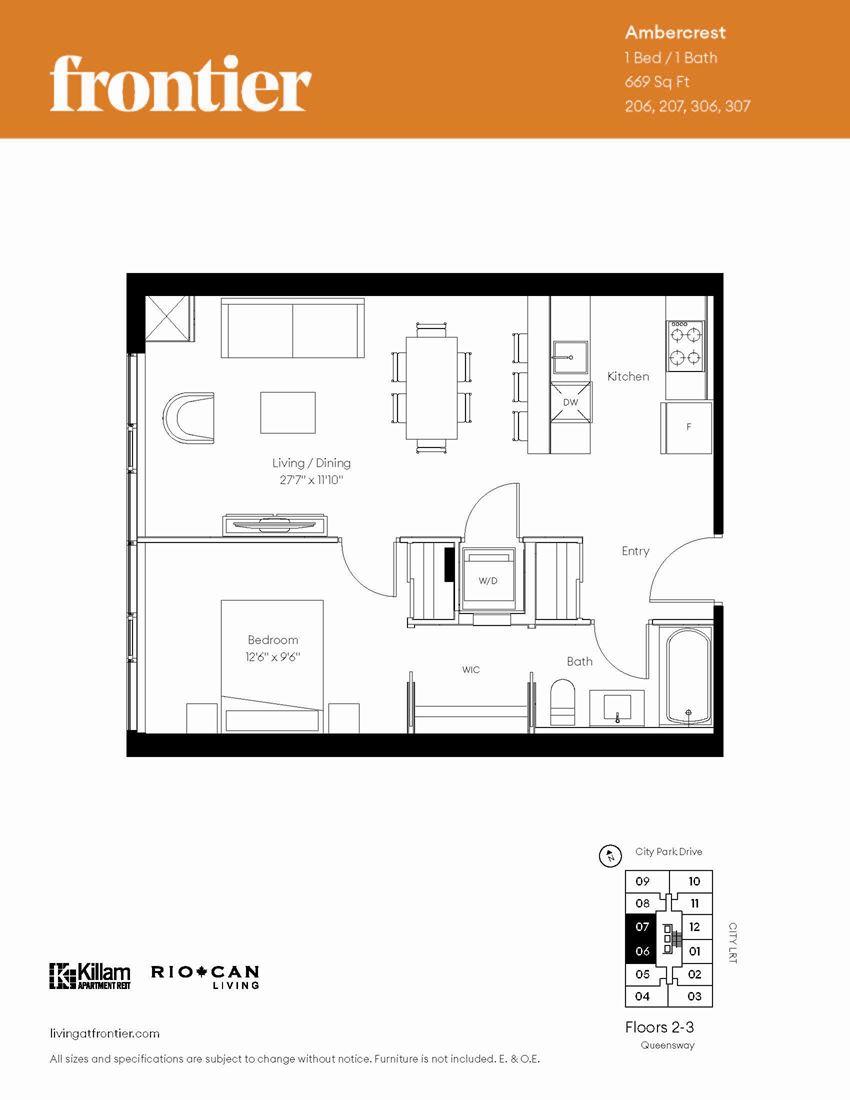 Ambercrest Floor Plan 1 Bed / 1 Bath