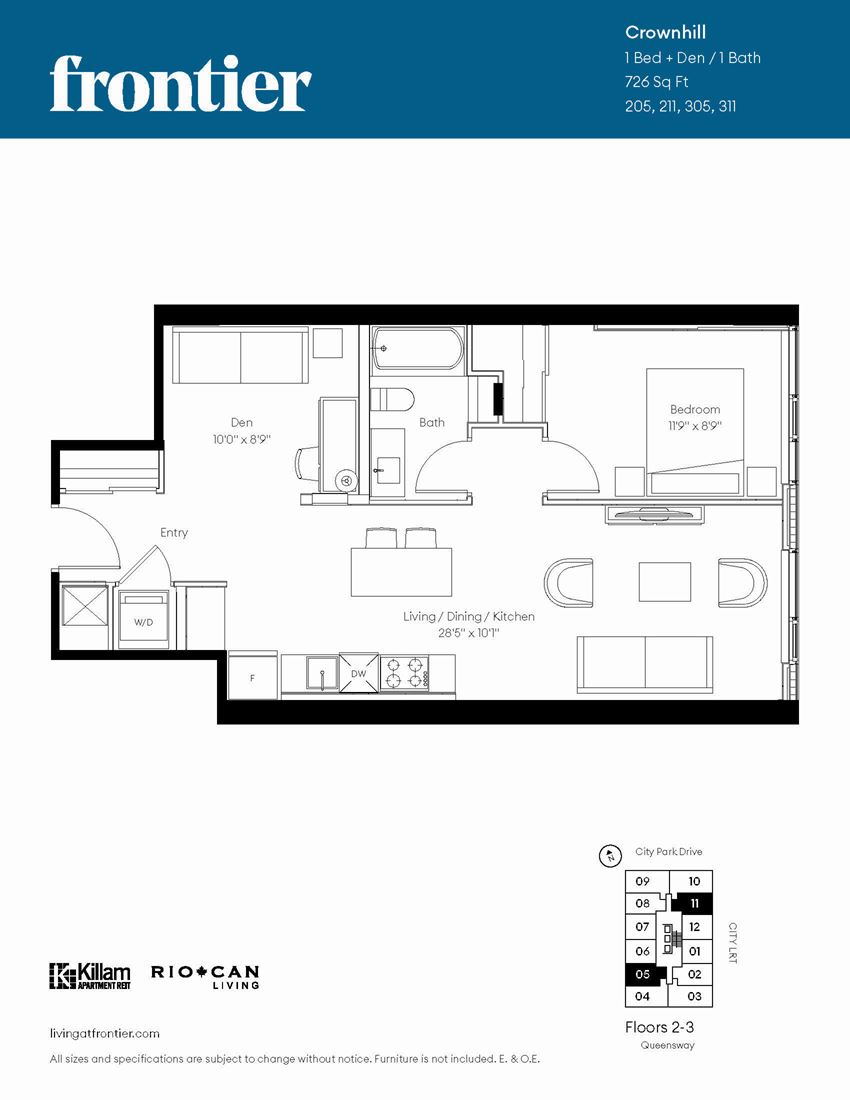 Crownhill Floor Plan - 1 Bed + Den