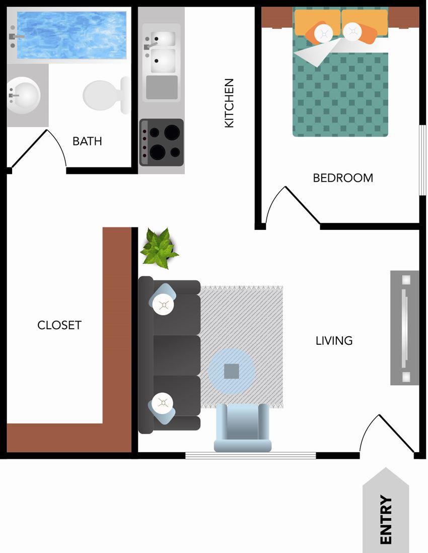 One Bedroom 500 sqft