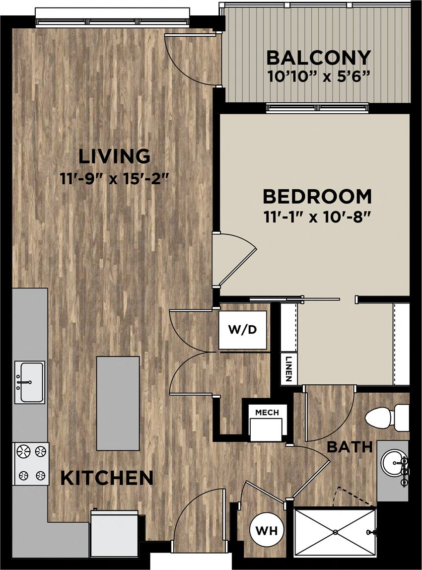 (A1) One Bedroom One Bathroom FP Layout at Arlo, Pennsylvania, 19355
