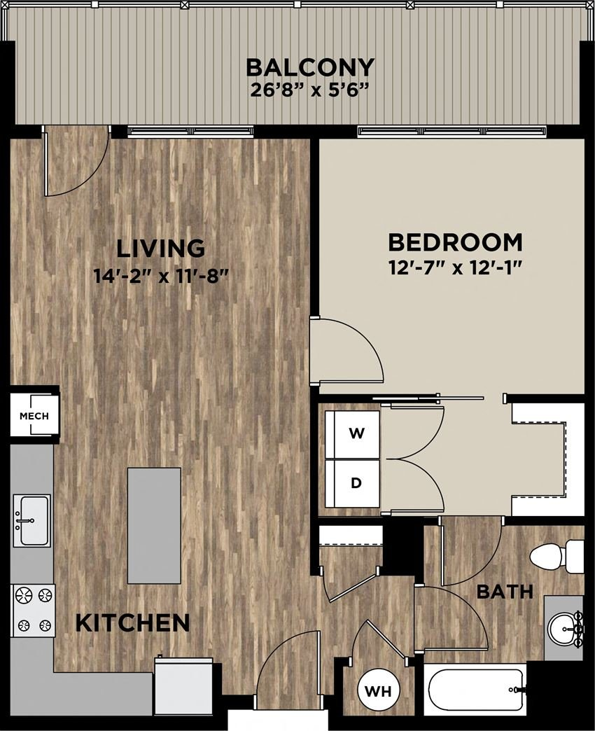 (A3) One Bedroom One Bathroom Floor Plan at Arlo, Malvern, PA
