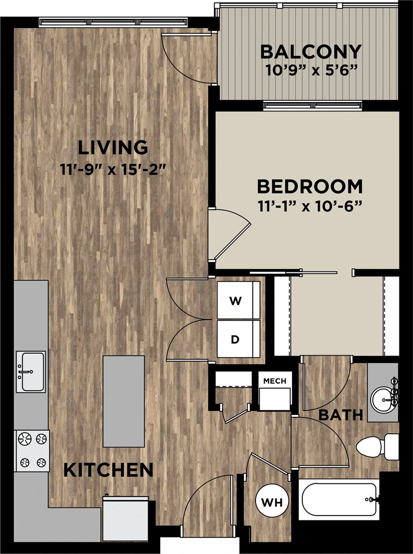 1 Bedroom 1 Bath Floor Plan at Arlo, Pennsylvania