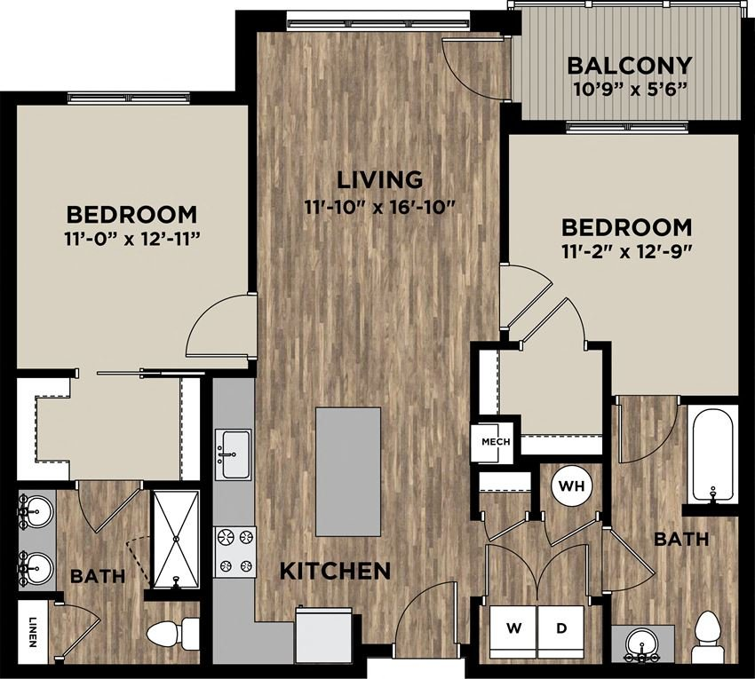 (B12) Two Bedrooms Two Bathrooms Floor Plans at Arlo, Malvern
