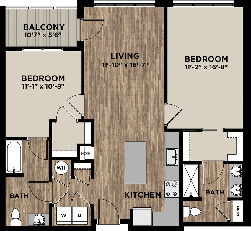 (B9, B10) Two Bedrooms Two Bathrooms FP Layout at Arlo, Pennsylvania