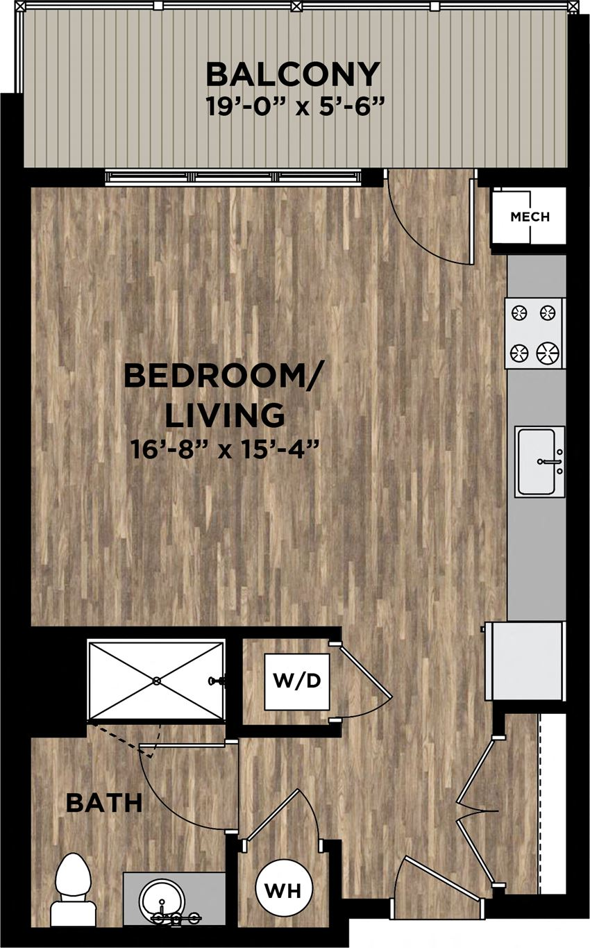 (S2) Studio Floor Plan  at Arlo, Malvern