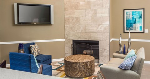 Watch a movie or a sports game in the clubhouse at The Park at Laurel Oaks