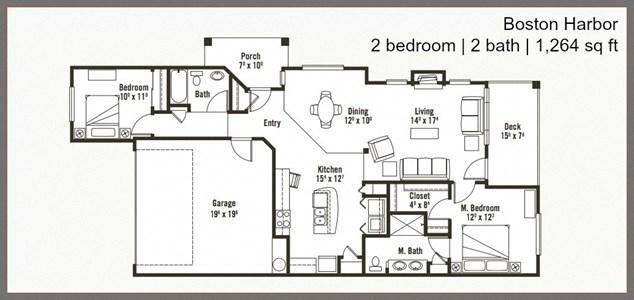 2 Bed 2 Bath Floor Plan at Yauger Park Villas, Olympia, WA, 98502