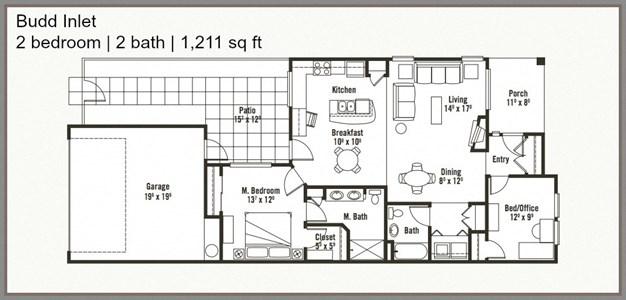 Spacious 2 Bed 2 Bath Floor Plan at Yauger Park Villas, Olympia, WA
