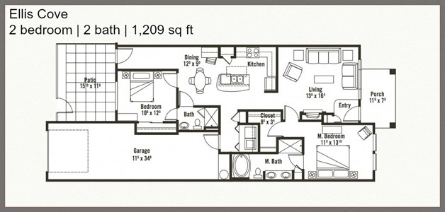 Marvelous 2 Bed 2 Bath Floor Plan at Yauger Park Villas, Olympia, Washington