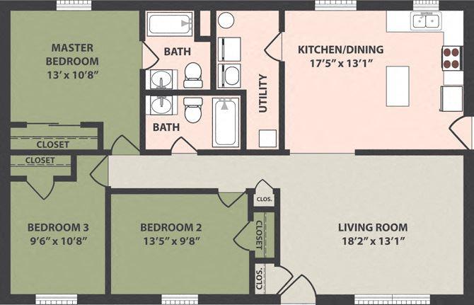 3-Bedroom, 2-Bath