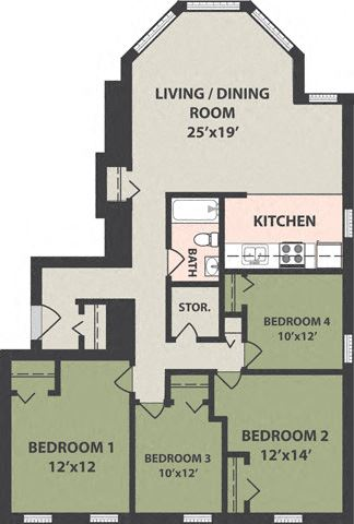 4-Bedroom, 1-Bath