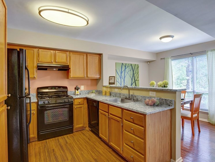Apartment kitchen with black appliances and granite counter tops