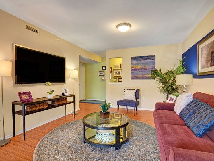 Furnished apartment living room with seating and wood floors