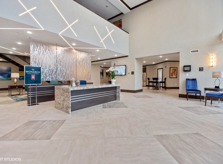 Luxurious Lobby to Welcome Our Residents and Guests at the Monarch Luxury Apartments in Des Plaines