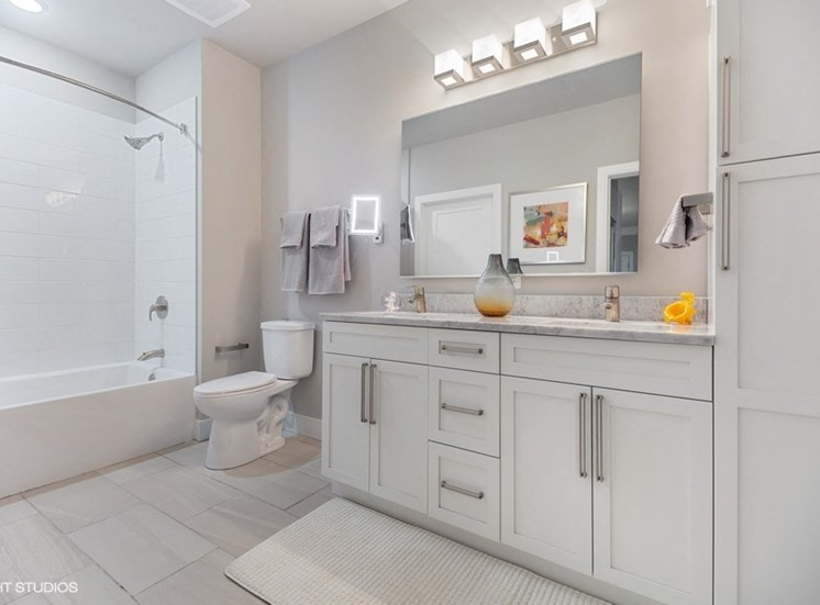 Luxurious Master Bathroom at The Monarch Luxury Apartments in Des Plaines