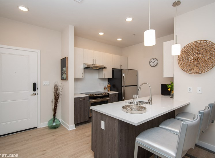 Kitchen Space with Quartz White Countertops and Stainless Steel Appliances -  Apartments in Windsor