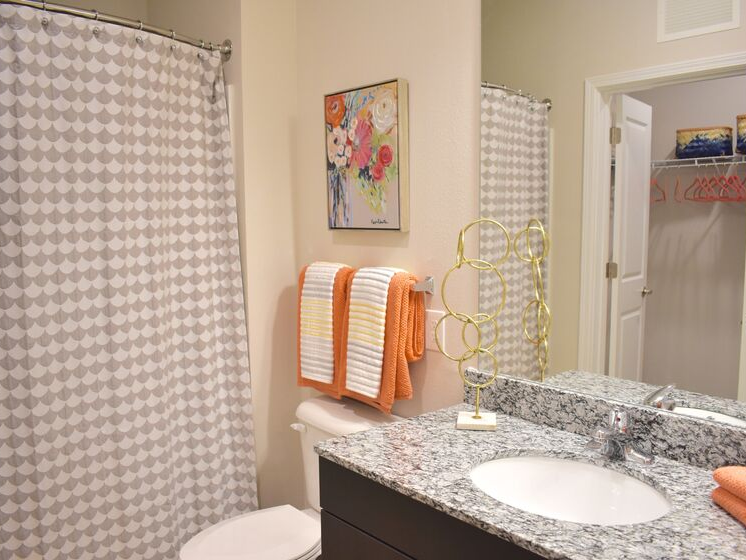 bathroom with granite counter tops