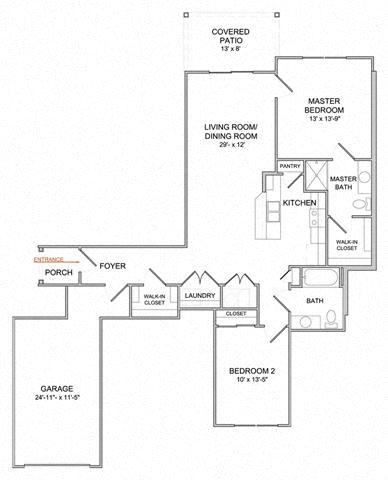 2 Bedroom/2 Bath/1st Floor