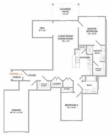 2 Bedroom/2 Bath/Den/1st Floor