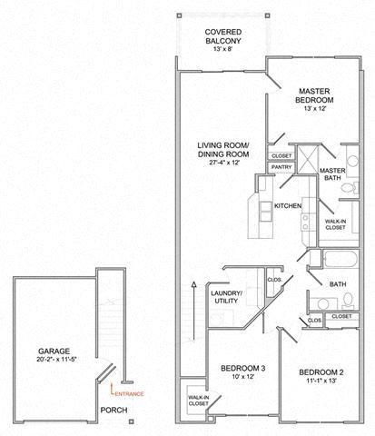 3 Bedroom/2 Bath/2nd Floor