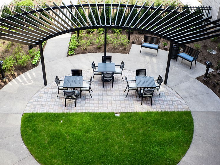 Outdoor Patio with Pergola at Rose Senior Living – Carmel, Carmel, IN, 46032