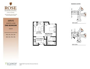 AL - Jarvis One Bed One Bath Floor Plan at Rose Senior Living – Clinton Township, Michigan