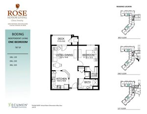 IL - Boeing One Bed One Bath Floor Plan at Rose Senior Living – Clinton Township, Michigan