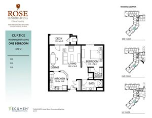 IL - Curtice One Bed One Bath Floor Plan at Rose Senior Living – Clinton Township, Michigan, 48038