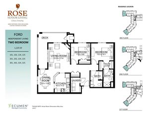 IL - Ford Two Bed Two Bath Floor Plan at Rose Senior Living – Clinton Township, Clinton Township, 48038