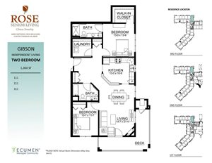 IL - Gibson Two Bed Two Bath Floor Plan at Rose Senior Living – Clinton Township, Clinton Township, Michigan