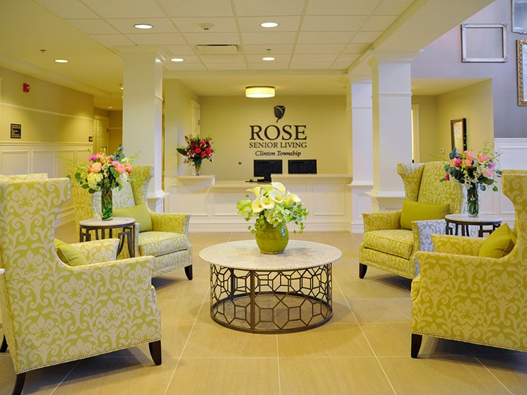 Main Lobby Entrance at Rose Senior Living – Clinton Township, Clinton Township, 48038