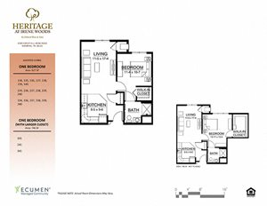 1 bedroom plan at Heritage at Irene Woods, Memphis