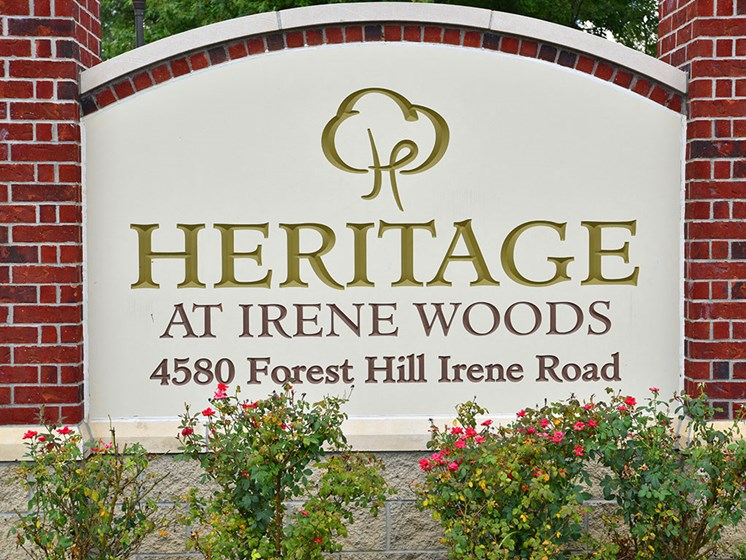 Entrance Sign at Heritage at Irene Woods, Memphis, TN, 38125