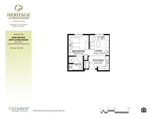 MC-Cambria One Bed One Bath Floor Plan at Heritage at Irene Woods, Memphis, Tennessee