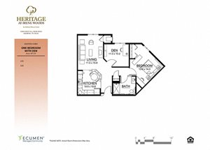 AL-Cambridge One Bed One Bath Floor Plan at Heritage at Irene Woods, Tennessee, 38125