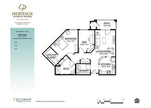 IL - Glen One Bed One Bath Floor Plan at Heritage at Irene Woods, Tennessee, 38125