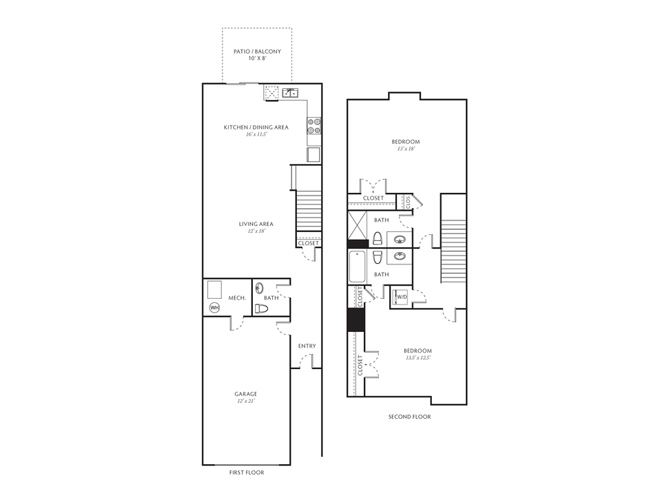 2 Bed, 2.5 Bath, 1239 sq. ft. Two Bedroom With Basement