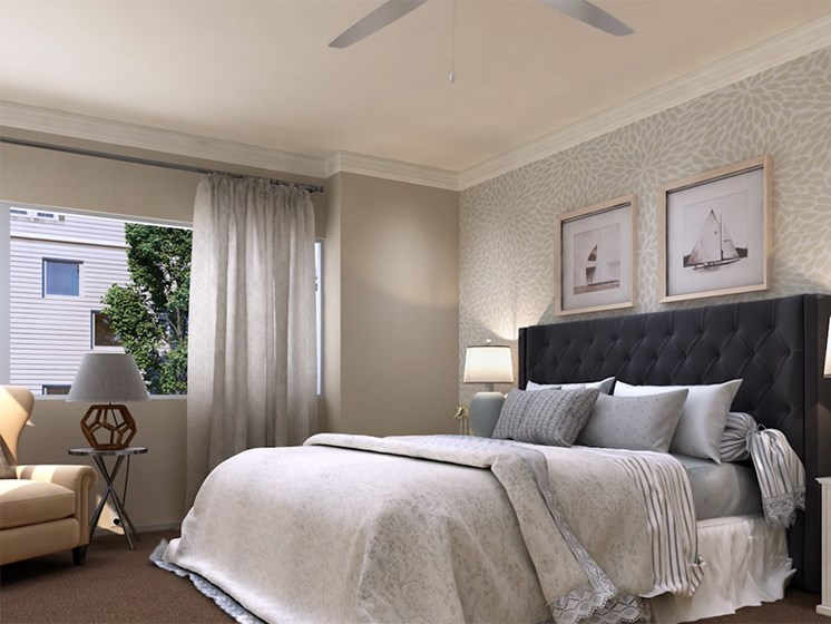 Bedroom with view at Hollywood Hills, A Pacifica Senior Living Community in Los Angeles, California