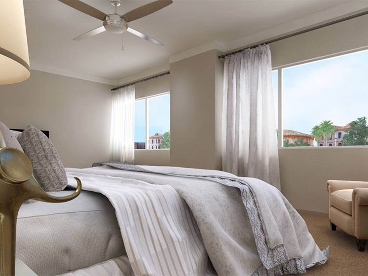 Sunny Bedroom at Hollywood Hills, A Pacifica Senior Living Community in Los Angeles, California