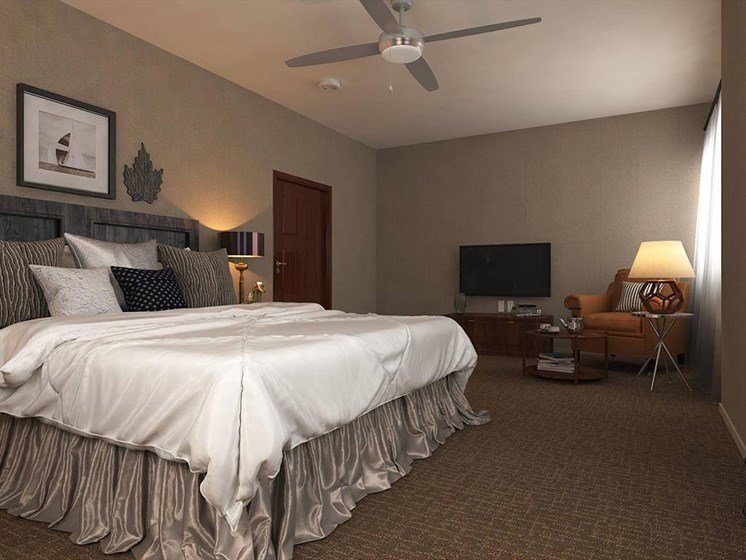 Deluxe Bedroom at Hollywood Hills, A Pacifica Senior Living Community in Los Angeles, California