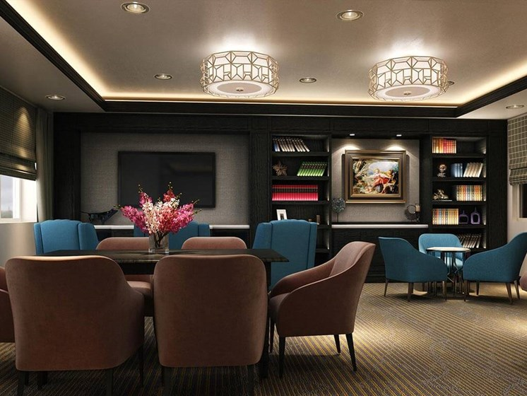 Lounge area at Hollywood Hills, A Pacifica Senior Living Community in Los Angeles, California