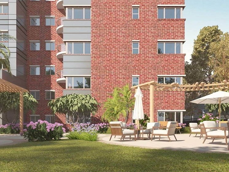 lovely outdoor spaces at Hollywood Hills, A Pacifica Senior Living Community in Los Angeles, California