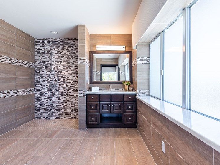 Updated Bathrooms at Hollywood Hills, A Pacifica Senior Living Community, California