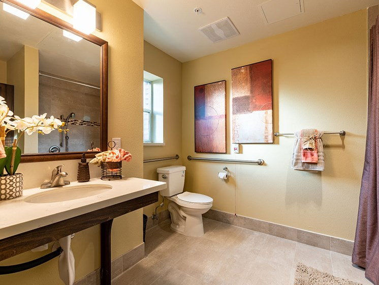Spacious Bathrooms at Hollywood Hills, A Pacifica Senior Living Community, Los Angeles