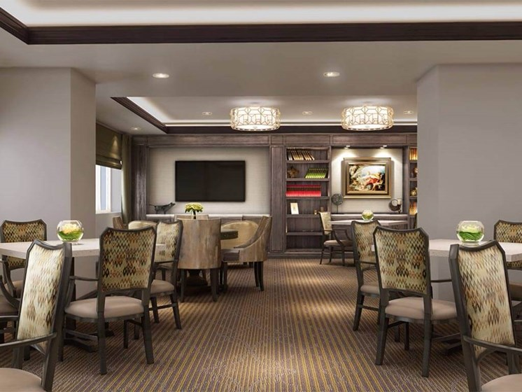 Restaurant-style dining at Hollywood Hills, A Pacifica Senior Living Community in Los Angeles, California