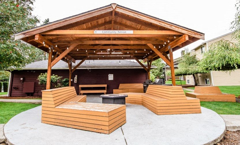 Tacoma Apartments - Altitude 104 Apartments - Common Patio, Gas Grills, and Gas Fire Pit