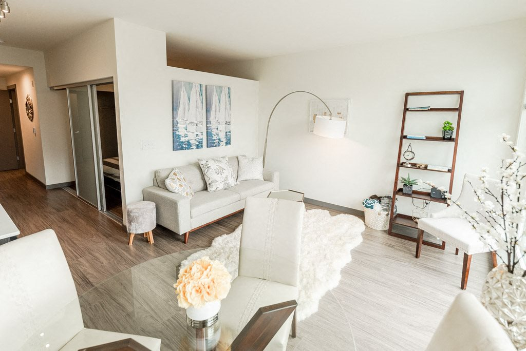 Seattle Apartments - Icon Apartments - Dining Room, Living Room, Bedroom, and Entryway