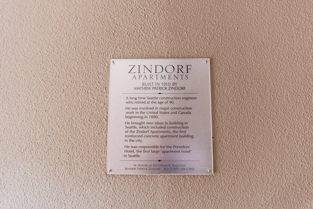 Seattle Apartments - Zindorf Apartments - Historical Plaque