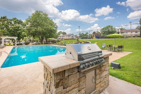 Grilling station at Chimneys of Greenville apartment homes in Taylors, SC