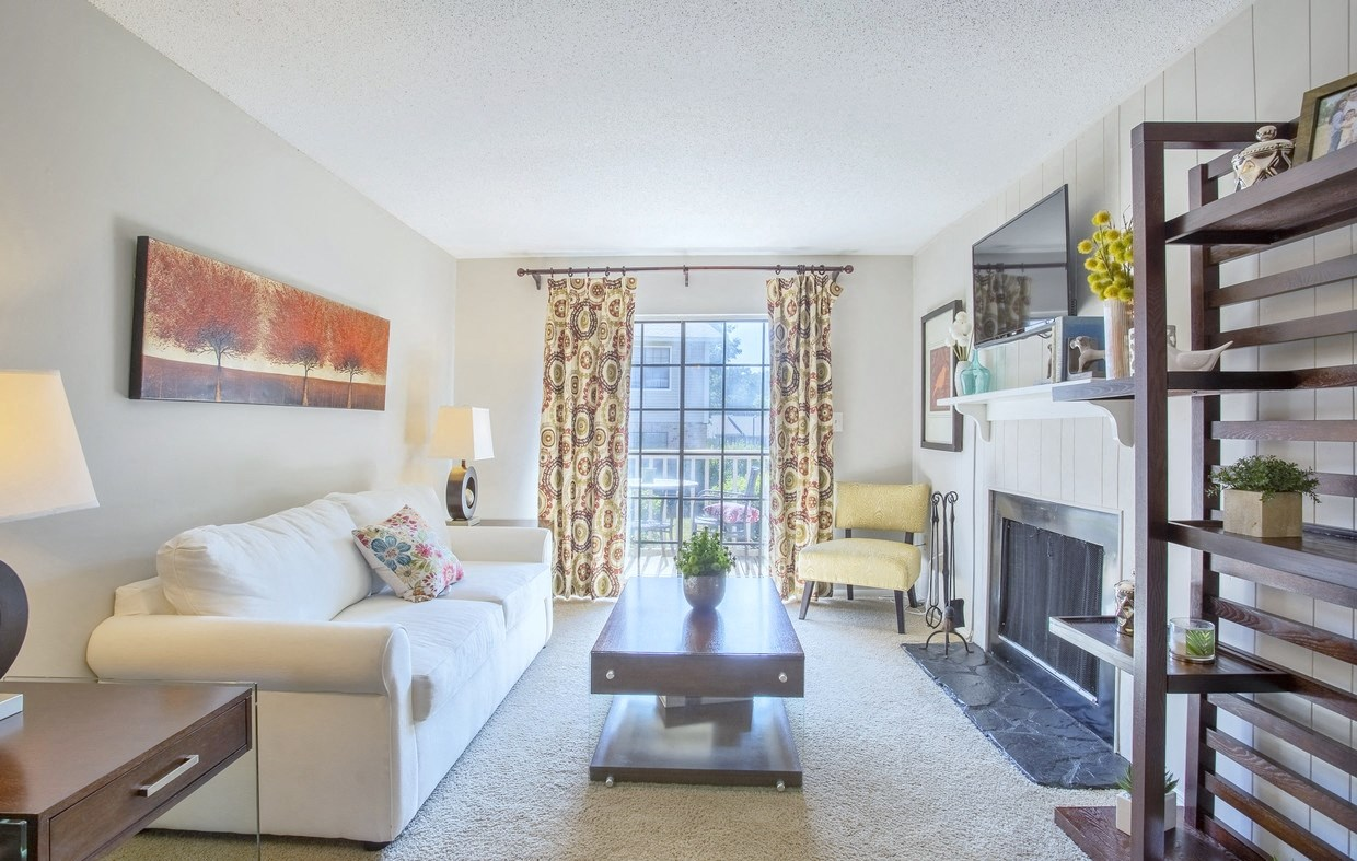 Beautiful living room at Chimneys of Greenville apartment homes in Taylors, SC